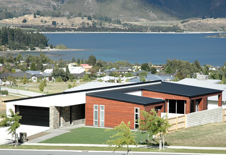 Home as seen from the street and view of Lake Wanaka