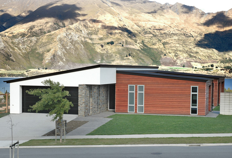 Wood, stone and plaster home over looking Lake Wanaka