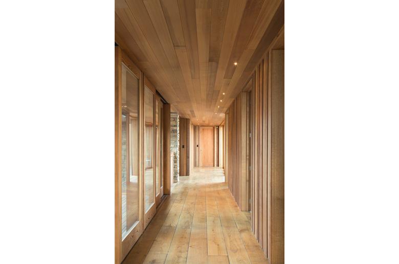 A wooden clad hallway