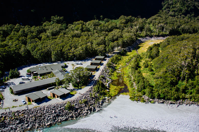 Aerial view of Milford Sound Lodge