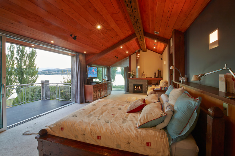 Master bedroom with view over Lake Wanaka