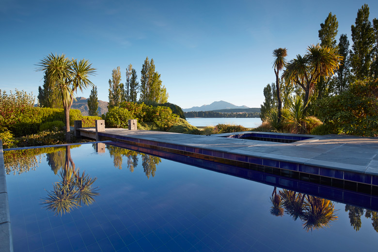 View of Lake Wanaka as seen from pool