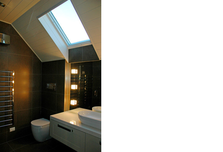 Picture of bathroom with toilet, basin and skylight