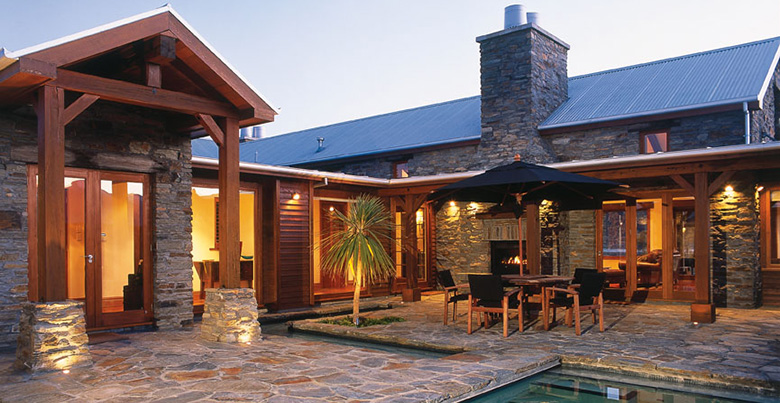 Poolside, stonework courtyard at client's house
