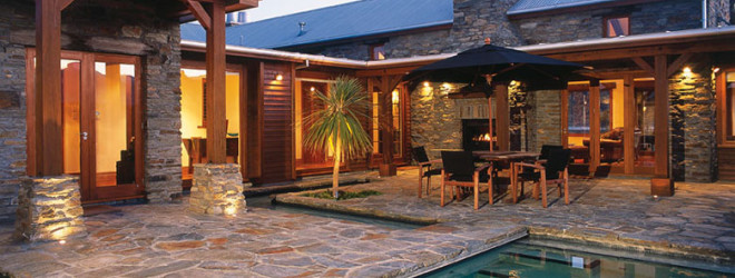 Stonemasoned, outdoor courtyard and pool