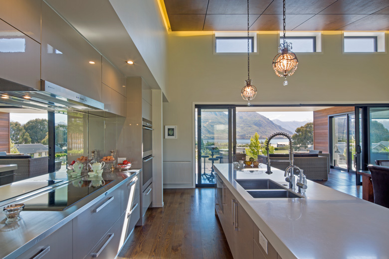Photo of house's kitchen with a view of Lake Wanaka