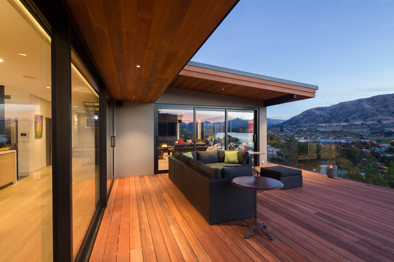 Lismore Street house's deck over looking Wanaka township