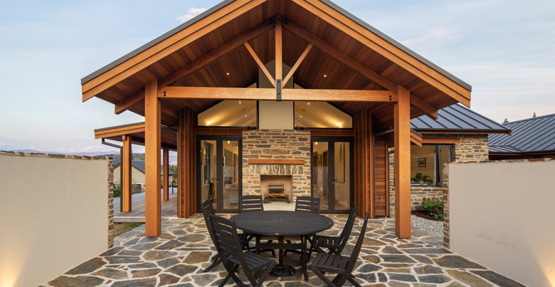 Picture of patio with outdoor furniture and fireplace
